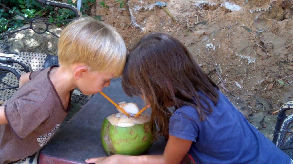 dzieci piją sok zkokosa